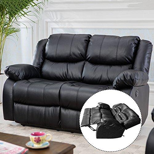 Giantex 3Pc Black Motion Sofa Loveseat Recliner Set Living Room Bonded Leather Furniture (Love-Seat, Black)