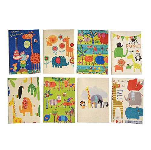 Set of 8, Safari Jungle Zoo Theme Mini Notebook Party Favors for Birthday Baby Shower Note Books