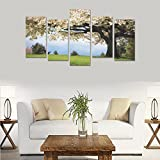 Unique Landscape Art Oil Painting landscapes trees flowers blossoms spring grass Custom 100% Canvas Material Canvas Print Bedroom Wall Art Living Room Mural Decoration 5 Piece Canvas painting (No Fram