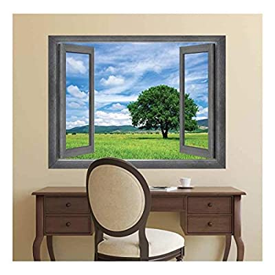 Open Window Creative Wall Decor Majestic Country Side View Wall Mural, Created Just For You, Handsome Work of Art