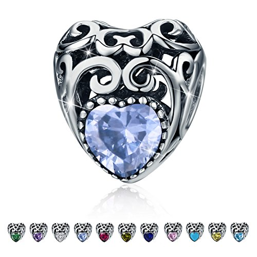 Birthstone Charms- Leaves Wave Heart Bead Charms- 925 Sterling Silver Openwork Charm fit Pandora Charm Bracelet Necklace for Women, Daughter, Wife, Girlfriend, Mother (June) (Fits Pandora Charm Bracelet)