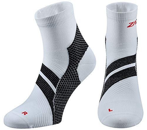 itis Sock, Compression Socks for Men & Women. Heel, Ankle & Arch Support. Increase Blood Circulation, Reduce Swelling, Foot Pain Relief. (White/Black, Large) ()