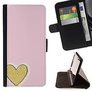 For Samsung Galaxy A3 Case , Oro rosa del amor Minimalista- la tarjeta de Crédito Slots PU Funda de cuero Monedero caso cubierta de piel