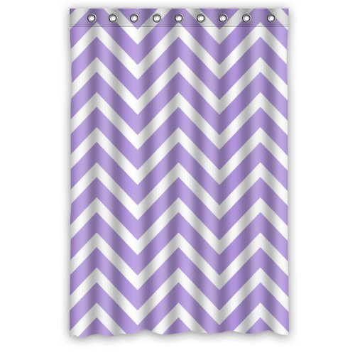 Purple and White Chevron Shower Curtain