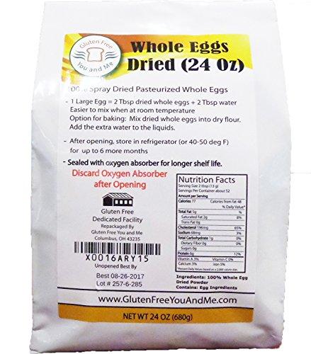 Judee's Whole Egg Powder 1.5lb (24 oz) - Non-GMO, Pasteurized, USA Made, 1 Ingredient, Produced from the Freshest of… 1 24 oz 100% pure whole egg product, pasteurized, Non GMO, Humanely Produced from UEP certified egg farmers in the USA No additives, only 1 ingredient; Whole Eggs. Produced from the freshest eggs less than 30 days old. Packaged in a Stand-up foil lined pouch, sealed with an oxygen absorber for freshness and longer shelf life Enjoy eggs any time you want. Perfect for outdoor preparation, camping and hiking. Just add 2 tablespoons whole dried eggs to 2 tablespoons water and mix and you have an equivalent of 1 fresh egg