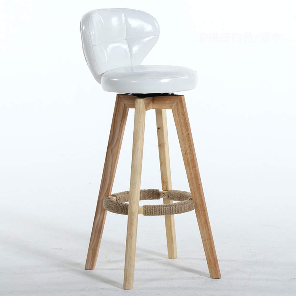 White Modern Solid Wood Barstools, 360 Degree Swivel High Stool with Backs Pu Leather Filled Cotton Pub Chair Counter Bar Stool Chair for Office Bar Home-Black