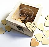 custom wedding guest book - Rustic Vintage White Wedding Guestbook, Custom Wooden Keepsake Box, Personalized Guest Book with 100pcs Hearts