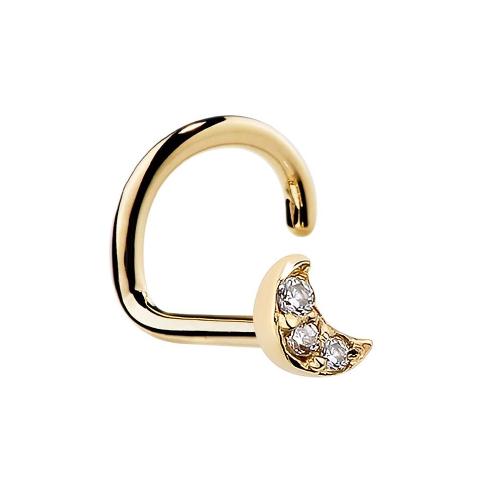 FreshTrends Tiny Genuine Diamond Pave Crescent Moon 14K Gold Nose Ring Stud FT2-NSE-DMD-MN-TW-WHT