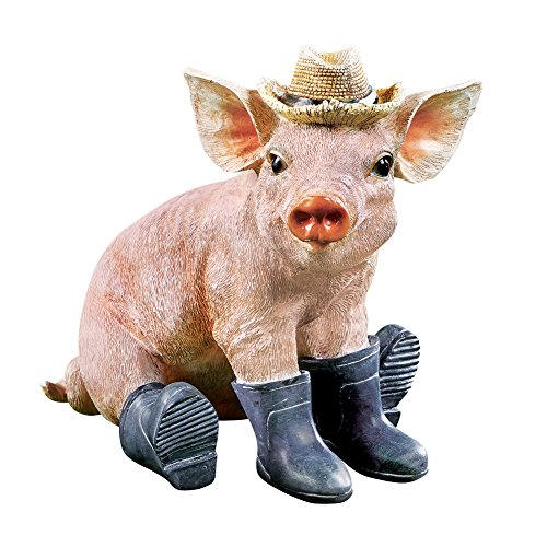 (Collections Etc Adorable Pig in Boots Animal Garden Statue Spring)