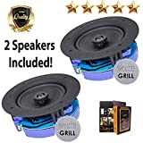 """Package: Gravity Premium SG-6Hi 6.5"""" 400 Watts Flush Mount In-wall In-ceiling 2-Way Universal Home Speaker System with PP Cone Titanium Tweeter Stereo Sound (2 Speakers Included)"""