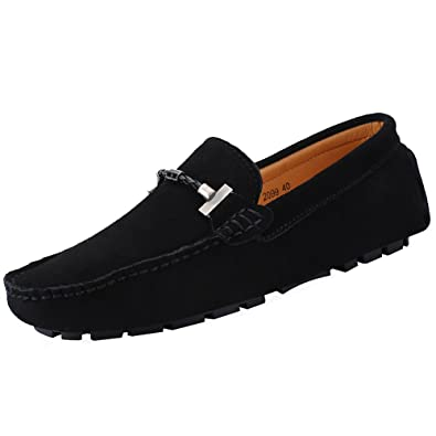 bf469ed1fac Jamron Mens Elegant Buckle Loafers Comfort Suede Driving Shoes Stylish  Moccasin Slippers Black SN19020 US6