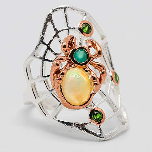 Handmade Spider Ring! Natural Opal 7x5 mm. 925 Sterling Silver Ring Size 7 us