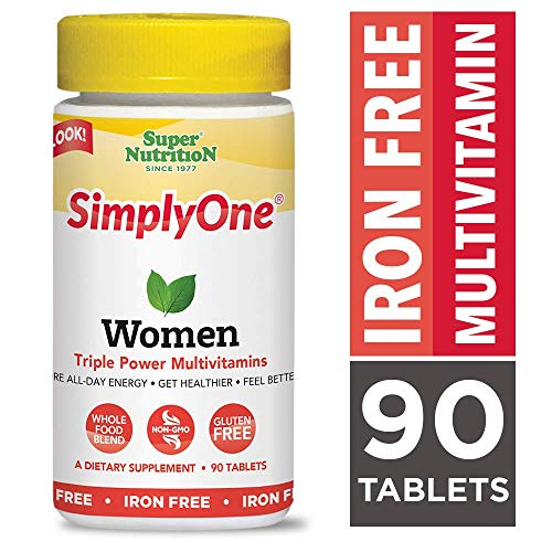SimplyOne Multivitamin for Women, Iron Free, Daily All-In-One Vitamin by SuperNutrition, 90 Day Supply; Best Value Pack