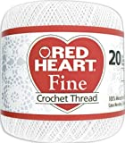 Red Heart Fine Crochet Thread, Size 20, White