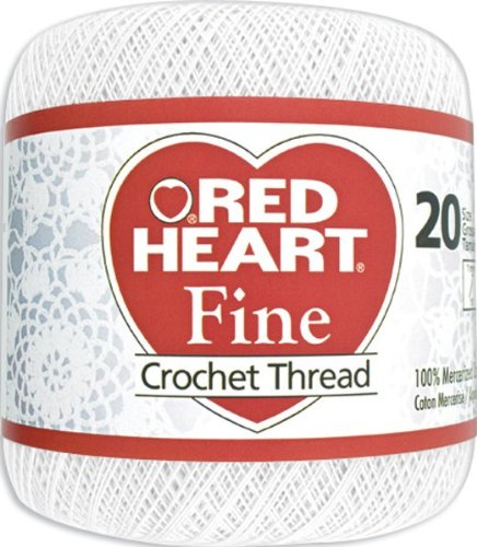 Red Heart Fine Crochet Thread, Size 20, White Fine Crochet Thread