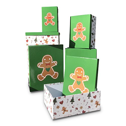 Whole House Worlds The Gingerbread Man Gift Boxes, Set of 6, Green Lids, festive White Patterned Bottoms, Recycled Paper, Assorted Sizes, (Gingerbread Gift)