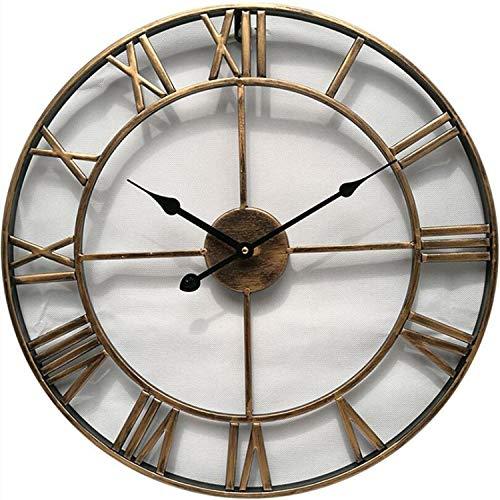 - Fashion Nice Circular Retro Roman 47cm Hollow Vintage Large Mute Wall Clock Wall Decoration,Gold,40cm
