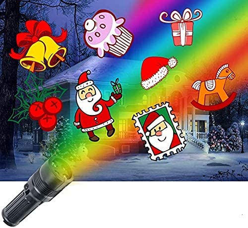 Battery Operated Christmas Portable Projector Light 12 Pattern Slides Tripod Halloween Easter Birthday Party Holiday Decoration Xmas UNIFUN LED Projector Flashlight
