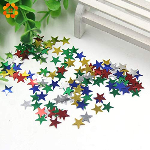 House DIY Gold Confetti Hot ! About 1000PCS/Bag Table Party Scatters Confetti Gold Silver 10MM Star for Home Garden Wedding Party Table Decoration (Random)