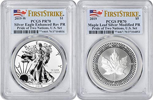 2019 Eagle - 2019 Pride of Two Nations 2-Coin Set, Enhanced Reverse Proof Silver Eagle and Modified Proof Maple Leaf, First Strike, U.S. Set PR70 PCGS