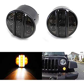 Amazon Sunpie Amber Front Led Turn Signal Light Assembly For. Ijdmtoy 2 Smoked Lens Direct Fit Led Daytime Running Lightsturn Signal Ls. Jeep. Jeep Led Turn Signal Wiring At Scoala.co