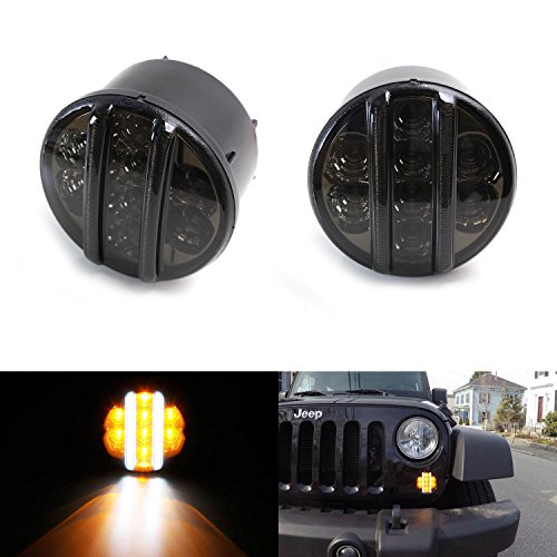 iJDMTOY (2) Smoked Lens Direct Fit LED Daytime Running Lights/Turn Signal Lamps For 2007-2017 Jeep Wrangler