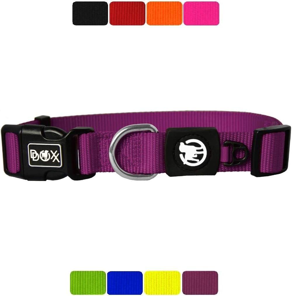 DDOXX Collar Perro Nylon, Ajustable | Diferentes Colores & Tamaños | para Perros Pequeño, Mediano y Grande | Collares Accesorios Gato Cachorro | Violeta, S