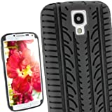 iGadgitz Black Silicone Skin Case Cover with Tyre Tread Design for Samsung Galaxy S4 IV I9500 Android Smartphone Cell Phone + Screen Protector