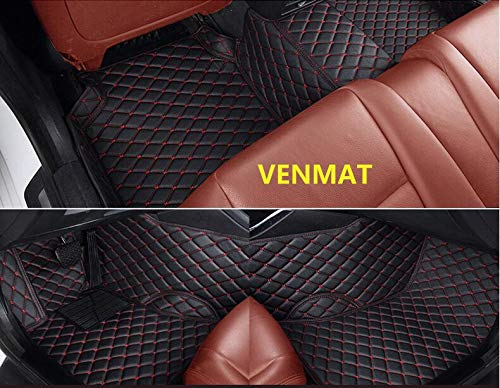 VENMAT Car Floor Mats Custom Made for Range Rover Velar 2017-2019 Faux Leather All Weather Waterproof Full Surrounded 3D Anti Slip Foot Carpets Black with Beige Stitch