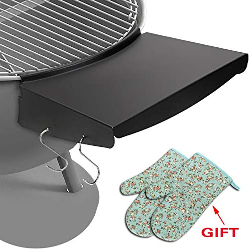 QuliMetal Grill Table Shelf for 22 Inches Weber Charcoal Grills, Weber Grill Side Shelf, Weber Kettle Grill Accessories, Outdoor Steel BBQ Table Folds to Store Inside Barbecue Grill ()