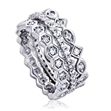 Platinum Plated Sterling Silver CZ Pave Three Style Stackable Matching Ring Set ( Size 5 to 9 ), 8