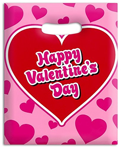 50 pc - Happy Valentine's Day plastic goody/favor bags bulk pack -