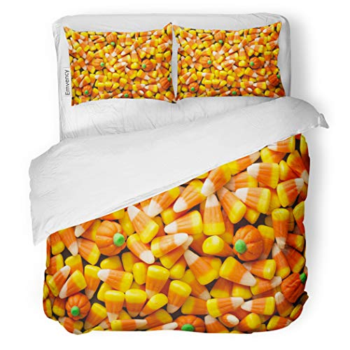 SanChic Duvet Cover Set Colorful Candy Corn and Pumpkin Halloween Overhead Shot Decorative Bedding Set with 2 Pillow Shams Full/Queen Size -