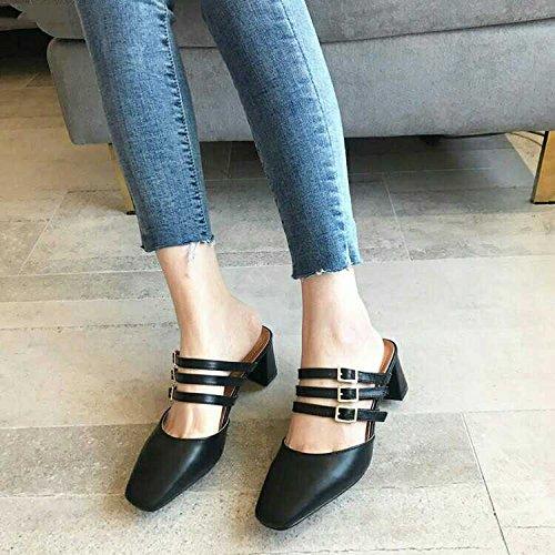 con scarpe primavera Baotou le black con estate ed Qingchunhuangtang spessi ciabatte con In sandali Y57qgvw