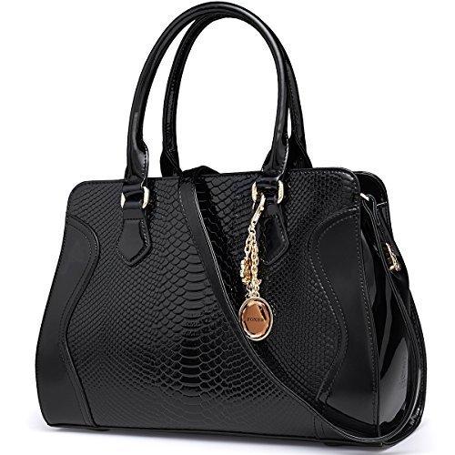 - FOXER Women Handbag Leather Purse Top Handle Patent Leather Tote Shoulder Bag