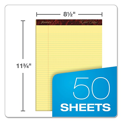 Esselte ESS20022 Ampad Gold Fibre Pads, 8 1/2 x 11 3/4, Canary, 50 Sheets (Pack of 12) by Esselte (Image #1)