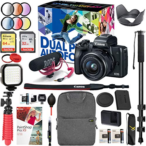Canon EOS M50 Mirrorless Camera 4K Video Creator Kit and EF-M 15-45mm Lens (Black) Bundle with Backpack Monopod SanDisk 64GB SDXC Memory Card and Battery Kit