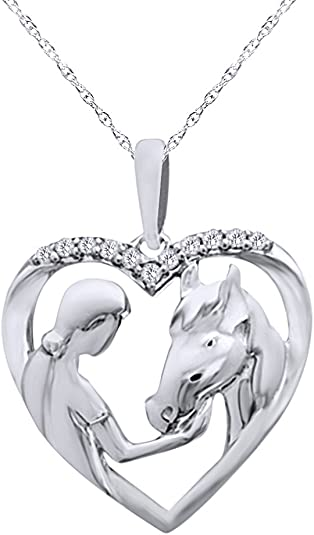 Wishrocks Horse Heart Pendant Necklace in 14K Gold Over Sterling Silver