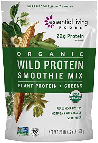 Essential Living Foods Organic Wild Protein Smoothie Mix, With Super Greens, Moringa, Spirulina, Wheatgrass, Mesquite, Lucuma, Vegan, Non-GMO, Gluten Free, Kosher, 20 Ounce Resealable Bag