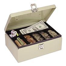 MMF Industries CASHBOX Craft Supplies Steel Cash Box with Locking Latch, Sand-221612003