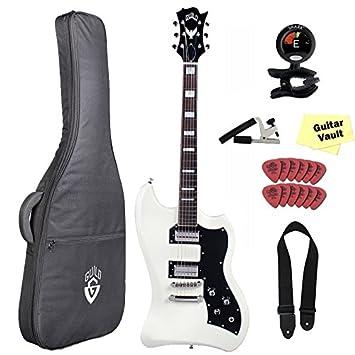 Hermandad T-Bird St VWT guitarra eléctrica (con funda y accesorios), diseño vintage, color blanco: Amazon.es: Instrumentos musicales