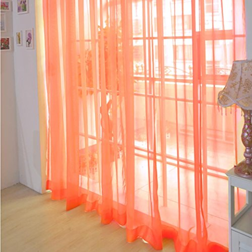Welcomeuni 2 PCS Pure Color Tulle Door Window Curtain Drape Panel Sheer Scarf Valances (F, Multicolor)
