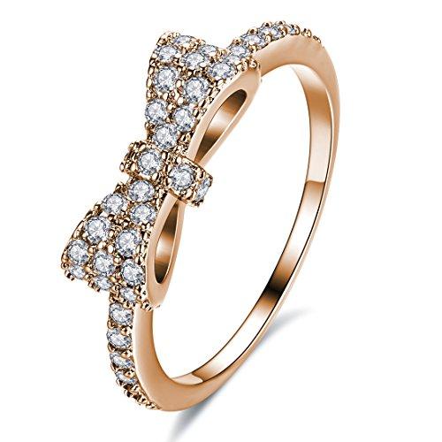 Allencoco 18K Rose/Yellow/White Gold Plated White Cubic Zirconia CZ Band Elegant Bow Ring Size 7 - 18k White Gold Bow