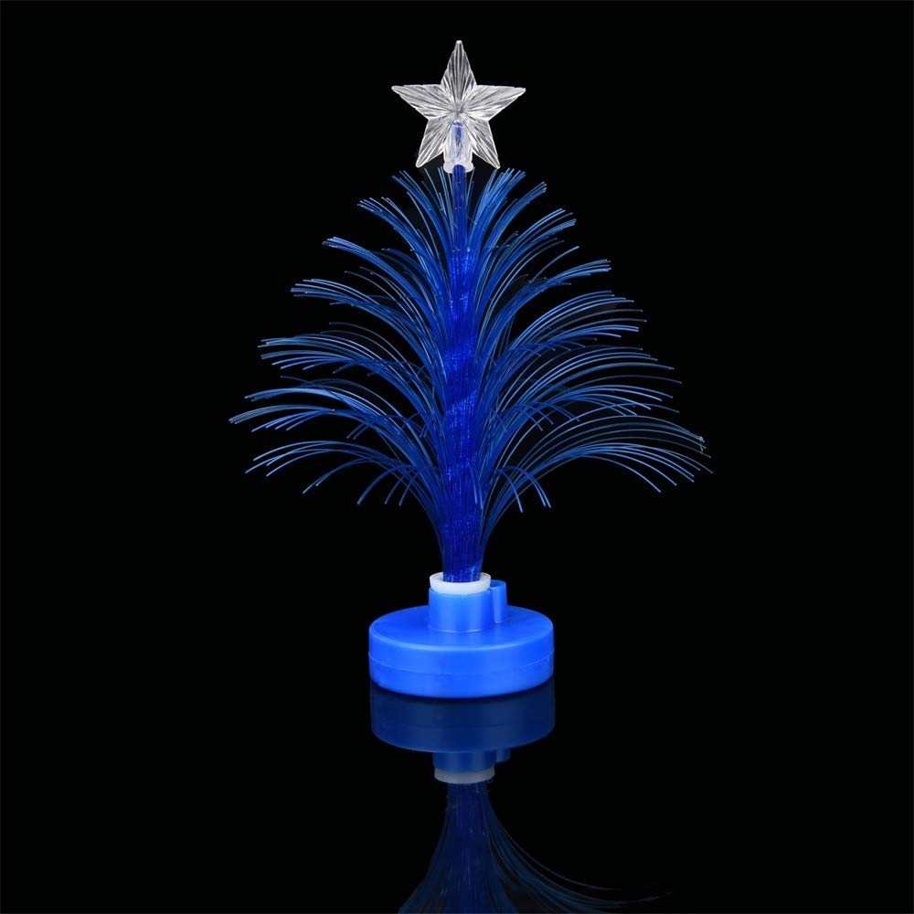 Pollyhb Merry Christmas Tree,LED Color Changing Mini Christmas Xmas Tree Home Table Party Decor Charm (Blue)