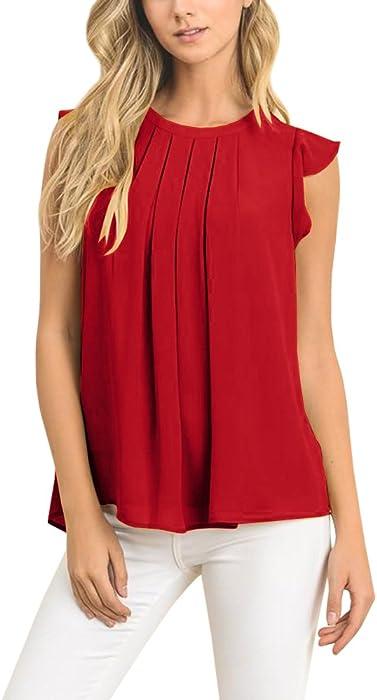 2678bece6e55fc Tutorutor Womens Sleeveless Blouse High Neck Tank Tops Flowy Pleated Ruffle  Summer T Shirt