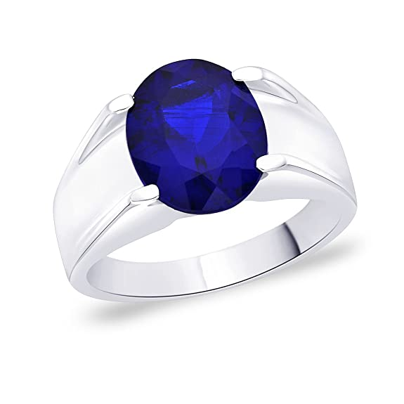 Peora Silver Men's Blue Ring Rings at amazon