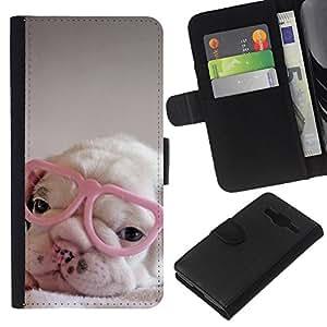 Supergiant (Puppy Pink Cute Sweet Heart Glasses) Dibujo PU billetera de cuero Funda Case Caso de la piel de la bolsa protectora Para Samsung Galaxy Core Prime / SM-G360