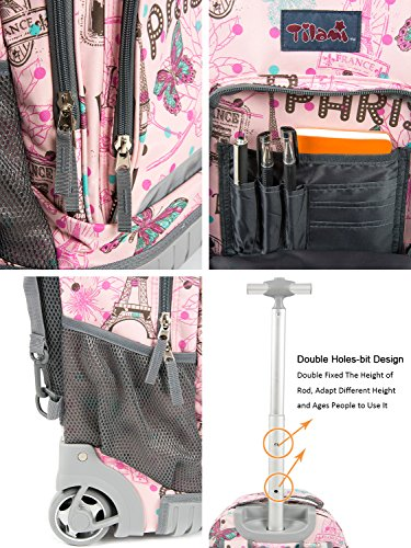 Tilami New Antifouling Design 18 Inch Wheeled Rolling Backpack Luggage and Lunch Bag by Tilami (Image #3)