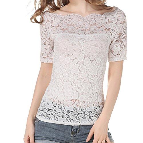 T Shirt Dentelle T El Sexy en Ete JLTPH Manches Longues Floral Shirt Epaule Femme Nue cxWpnaC