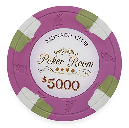 Poker Composite Clay Diamond Chips (Pack of 50 Monaco Club Poker Chips, Heavyweight 13.5-gram Clay Composite by Claysmith Gaming ($5,000 Hot Pink))